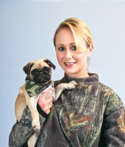 Pretty Young Woman With Her Pet Pug